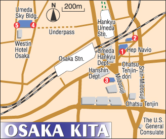 Osaka Map to Kita Area Movie Theaters The Japan Times Online