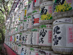 Sake barrels at Hachimangu Shrine