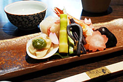 The seasonal otoshi starter plate, including shrimp and bamboo shoots