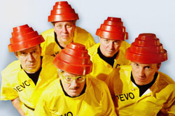 Devo don their Energy Dome hats