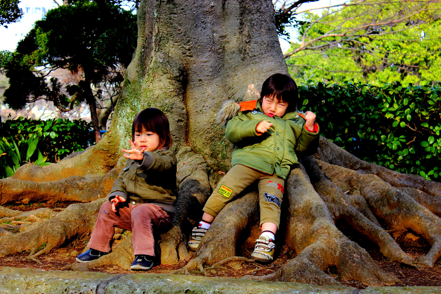 Cute twins in the park, Nogeyama Zoo, Yokohama -- Taken by LIBIN THOMAS  The...