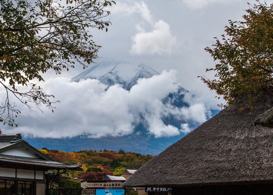 View of Mount Fuji from Oshino Hakkai located in the Fuji Five Lakes area, Yamanashi Pref.