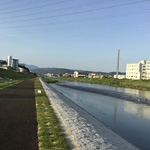 A newly built walking path runs along the Kamo River, Kyoto