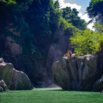 A couple enjoying the view in gorgeous Tedori Gorge, Hakusan, Ishikawa Pref.